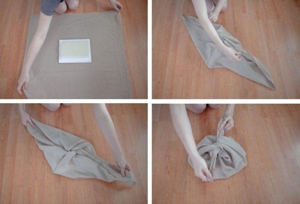 DIY Furoshiki Cloth Basic Wrap Remodelista 733x500