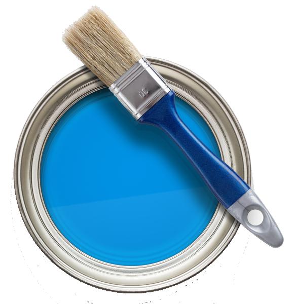 Paint can blue transparent back