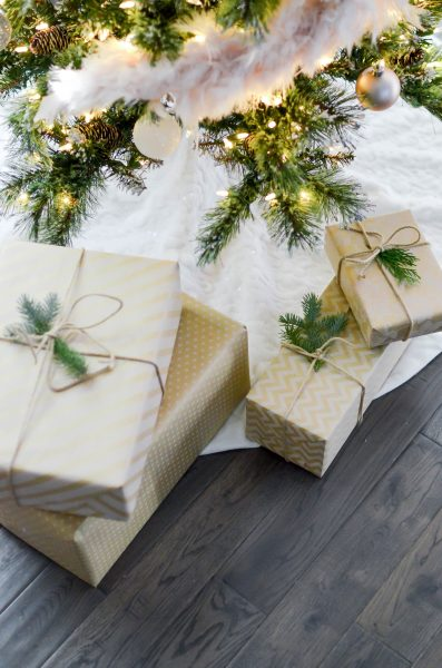 Four boxes near lighted string lights 712323