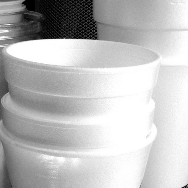 Recycled styrofoam cups