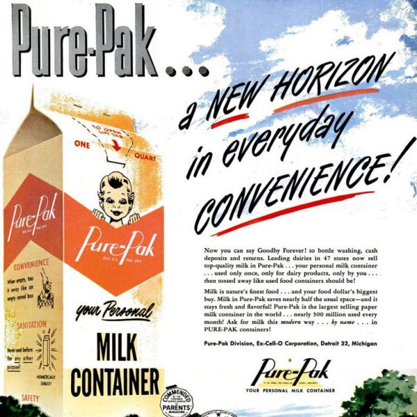 Disposable milk carton ad propaganda