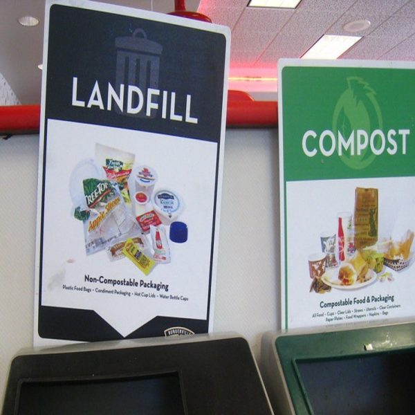 Landfill compost bins stock image cropped