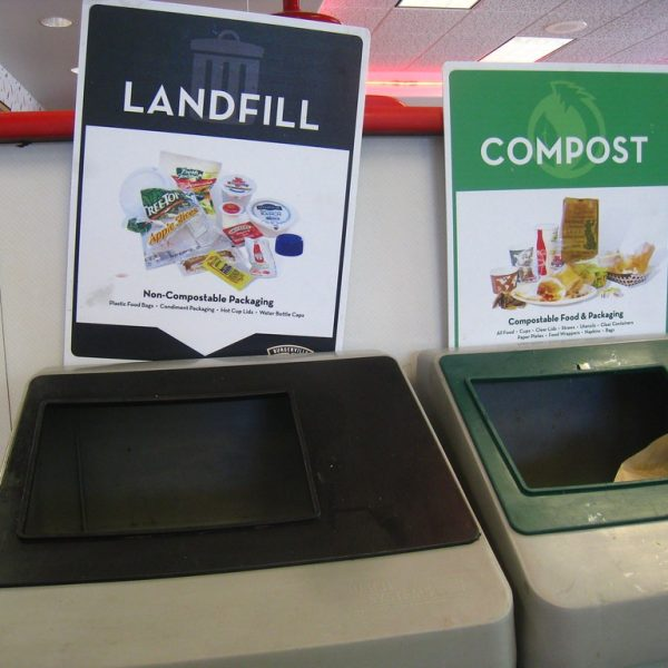 Landfill compost bins stock image