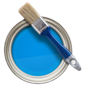 Paint can blue transparent back